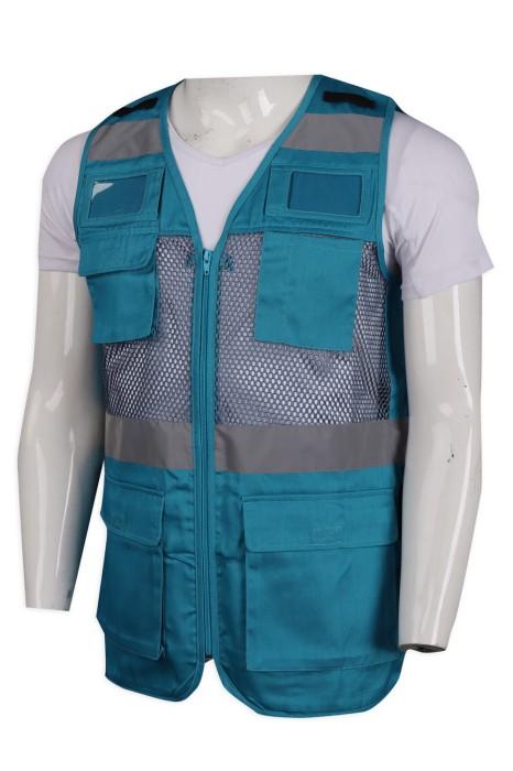 V183  供應多袋款網格釣魚背心 度身訂造背心外套 100%滌 背心外套製造商