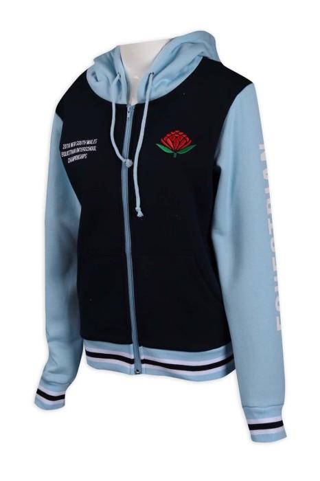 Z431 訂購女裝撞色衛衣外套 澳洲 馬術外套 65%棉 35%滌 衛衣製衣廠