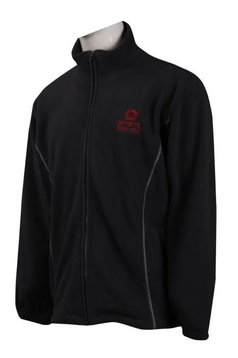 J808 製作黑色搖粒絨外套 橡筋袖口 風褸外套製衣廠