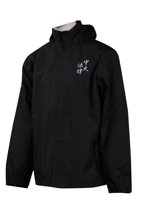 J809 設計黑色連帽外套 中大法律 風褸外套製造商