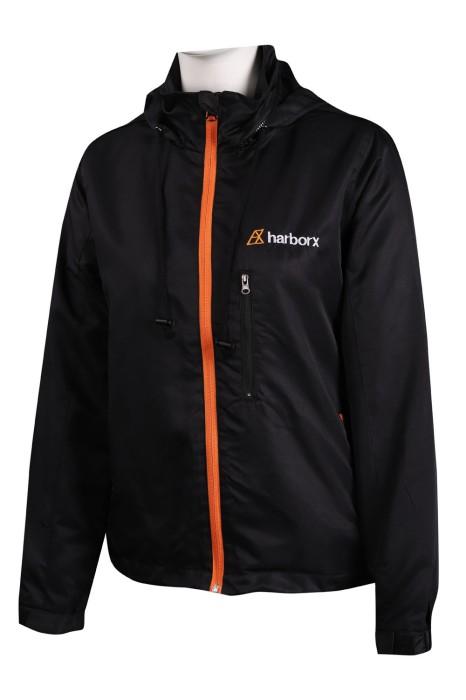 J819 訂做黑色連帽風褸外套 魔術貼袖口 風褸外套製造商