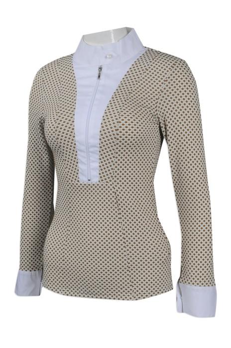 R263 團體訂做女裝恤衫款式 來樣訂造女裝長袖恤衫 澳洲 HH 印製女裝修身恤衫專營店