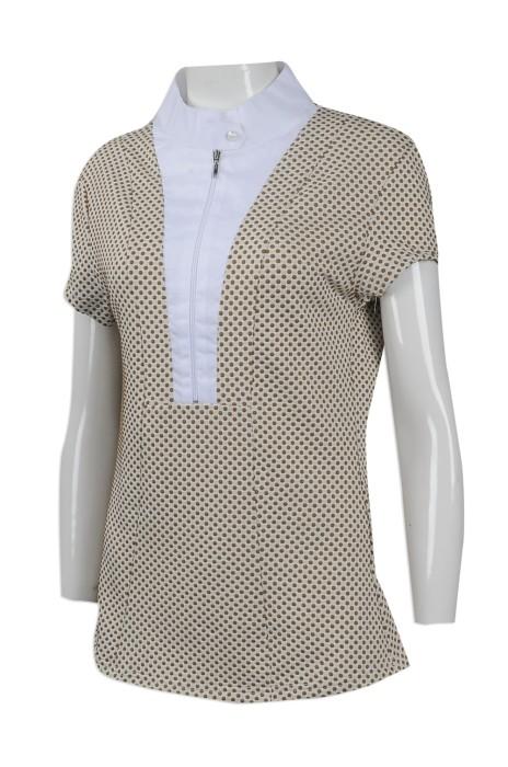 R264 訂做度身恤衫款式   製作波點恤衫款式     設計女裝恤衫款式   恤衫生產商