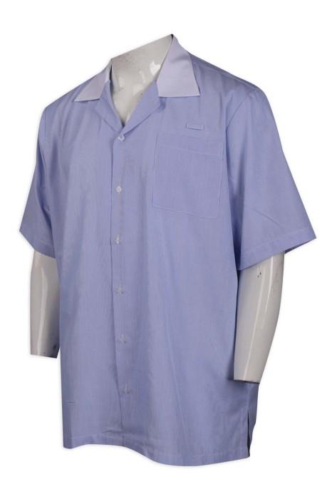 R272 訂做男裝短袖恤衫 寬鬆 新加坡 65%棉 35%滌 恤衫製衣廠