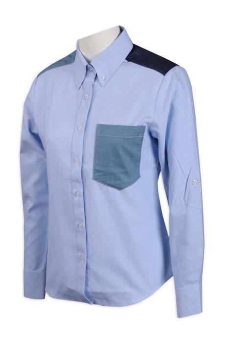 R274 製作撞色長袖恤衫 65%棉 35滌 恤衫生產商