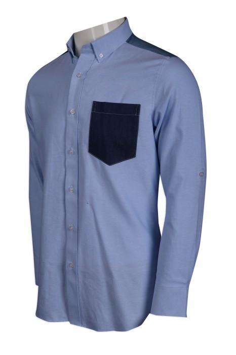 R275 製作男裝撞色長袖恤衫 眼鏡 零售連鎖制服 65%棉 35滌 HK恤衫供應商