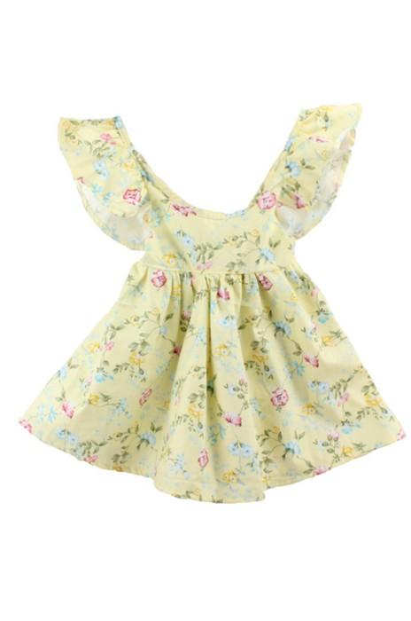 SKCC002 訂購嬰幼兒童印花荷葉邊連衣裙  網上下單兒童連衣裙  供應碎花荷葉邊連衣裙