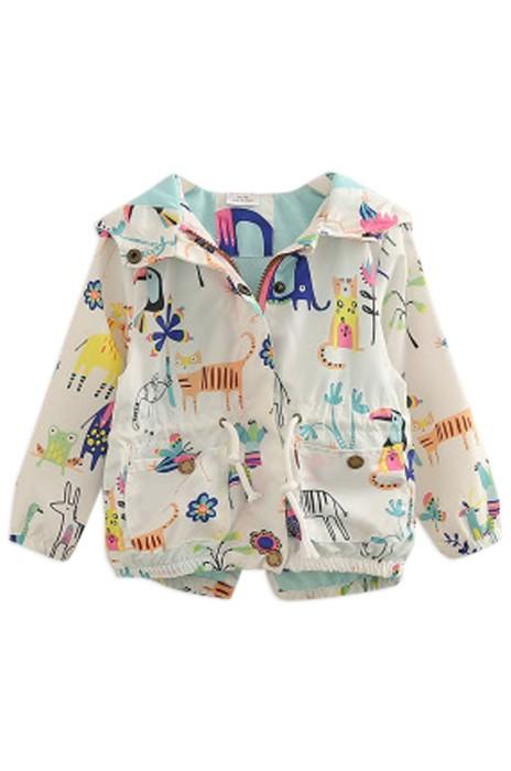 SKCC004 設計印花拉鏈外套 女童童装連帽外套 童裝專門店