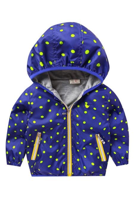 SKCC005 設計衝鋒風衣外套 內裡針織裡 全印刷花紋 童裝製衣廠