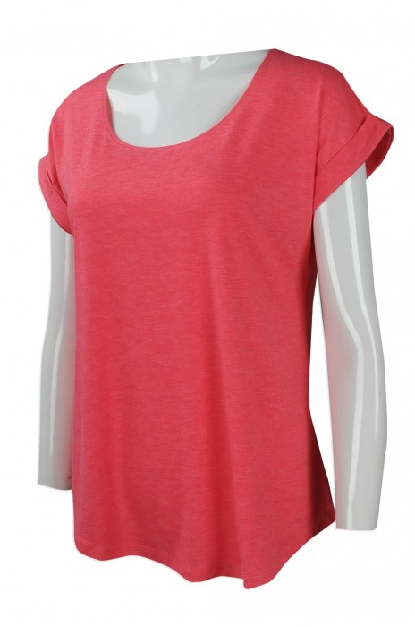FA344 團體訂做女裝T恤時裝款式 度身訂製淨色女裝T恤時裝款式 法國 大領寬袖女裝 時裝款式製造商
