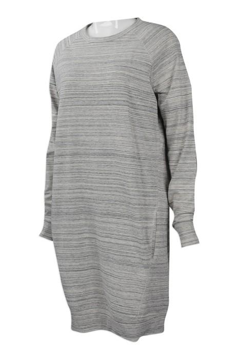 FA345 網上下單條紋女裝裙時裝款式  團體訂做女士連身裙款式  橫紋長身款 女裝 長裙 鬆身 one piece 時裝款式專營店