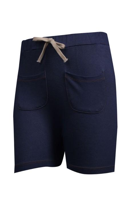 U323 設計彈力運動短褲 打結腰帶 針織牛仔230G 運動褲製造商