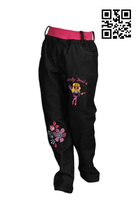 U324 訂製撞色女童運動褲  繡花logo運動褲 橡筋腰  運動褲專門店