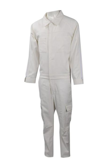 D260 訂購白色連體工作服 來樣訂造連體工作服  網上下單工作制服  制服專門店 連身工人褲  夾乸衣 蛤乸衣 甲乸衣