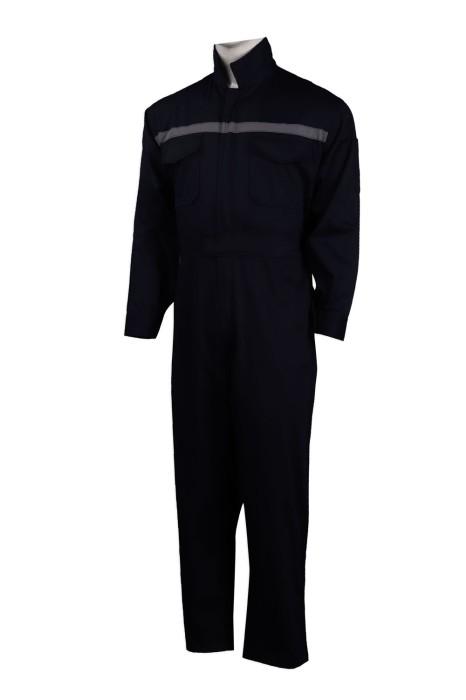 D274 設計企領黑色連體工作服  工業制服製造商