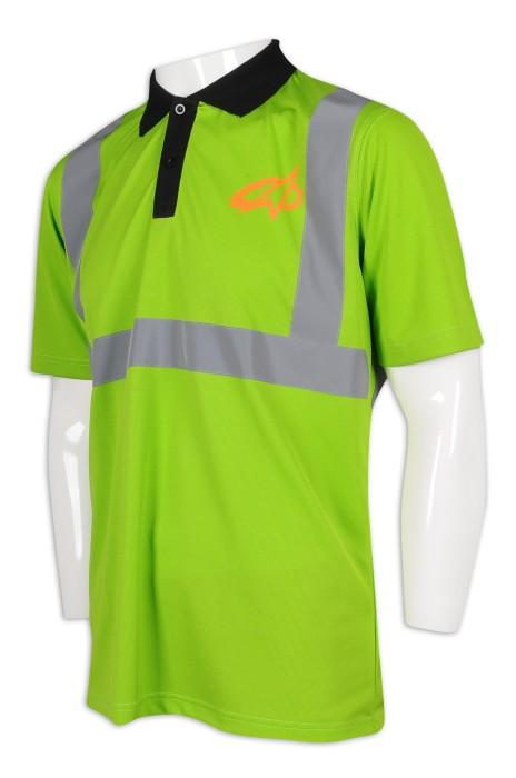 D282 訂做反光條工業Polo 撞色胸筒 工業制服供應商