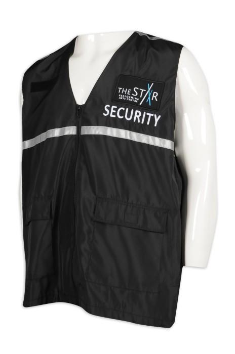 D287 訂做反光條保安背心外套 100%滌 保安制服供應商