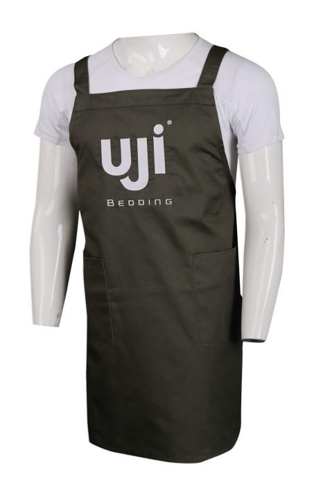 AP133 設計H型軍綠色繡花圍裙 65%滌 35%棉   家具用品 床上紡織品 零售制服 圍裙製衣廠