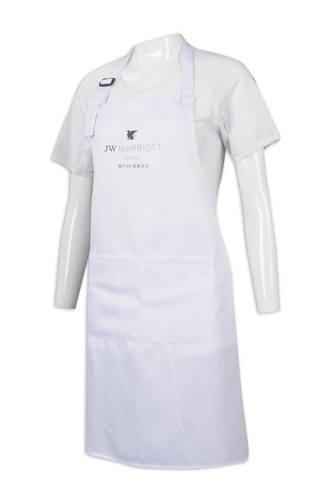AP137 訂製白色全身圍裙 澳門萬豪酒店 圍裙生產商