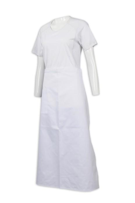 AP138 訂做淨色半身圍裙 35%棉 65%滌 圍裙供應商