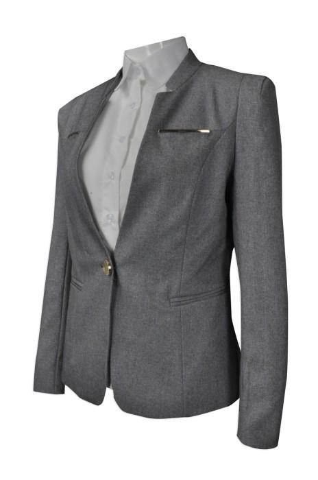 BWS076  供應灰色女款西裝  網上下單西裝外套  銀色撞色邊 胸袋 量身訂造西裝  西裝專門店