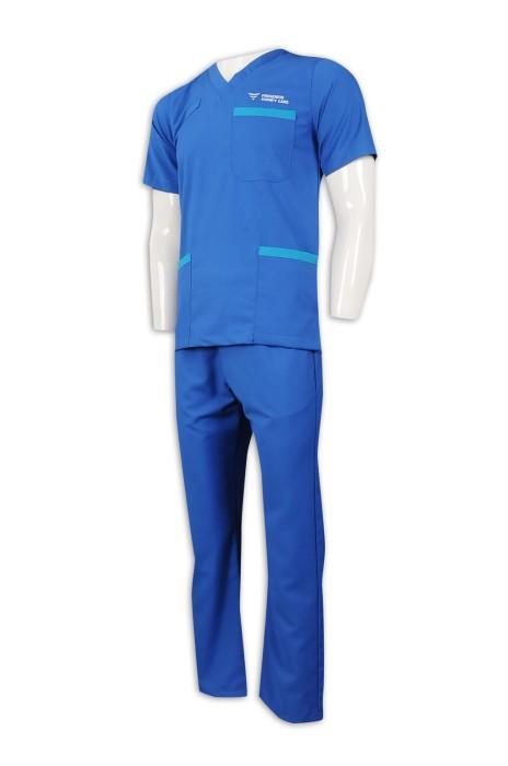 NU055 製作男護士制服套裝 夏季 護理人員制服 65%滌 35%棉 診所制服製衣廠