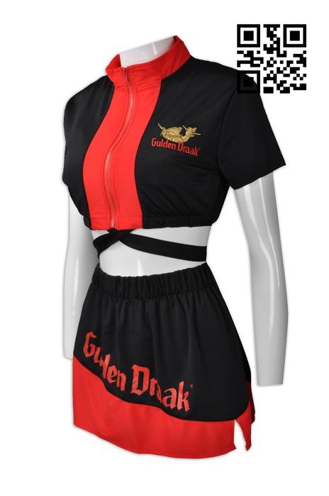 BG026 來樣訂做啤酒女郎款式    設計三件套啤酒女郎款式  比利時黑啤 短裙 吊帶背心   車模 賽車女郎 製作LOGO啤酒女郎款式   啤酒女郎中心 賽車手