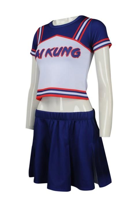CH167 度身訂製啦啦隊服 自製短袖啦啦隊服 露腰 露臍 百褶裙 熱升華 女款 啦啦隊服製作中心