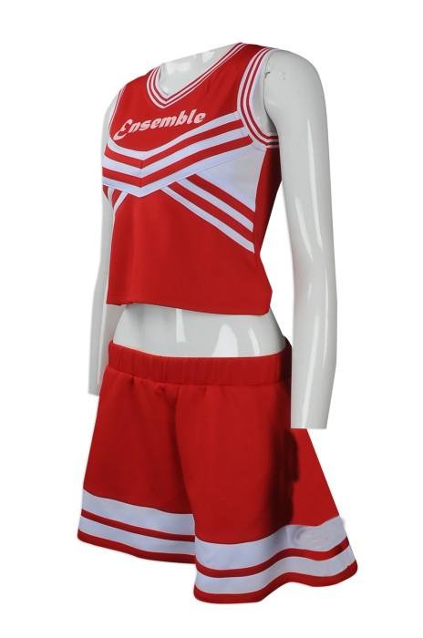 CH169 大量訂製女裝啦啦隊服 設計露臍款啦啦隊服套裝 女款 百褶裙啦啦隊服 製造商