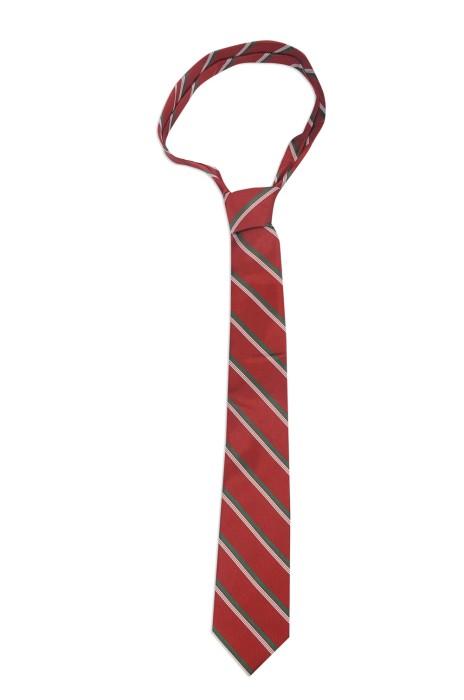 TI148 來樣訂做領帶款式 印製紅色條紋領帶 製作領帶供應商