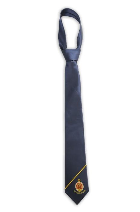 TI159 訂做淨色領帶 繡花logo領帶  週年紀念 100%滌 領帶供應商