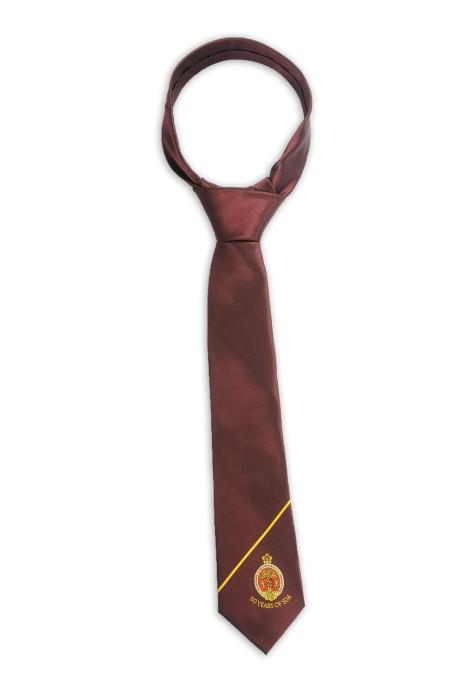 TI167 設計淨色領帶 繡花logo領帶 100%滌 領帶供應商