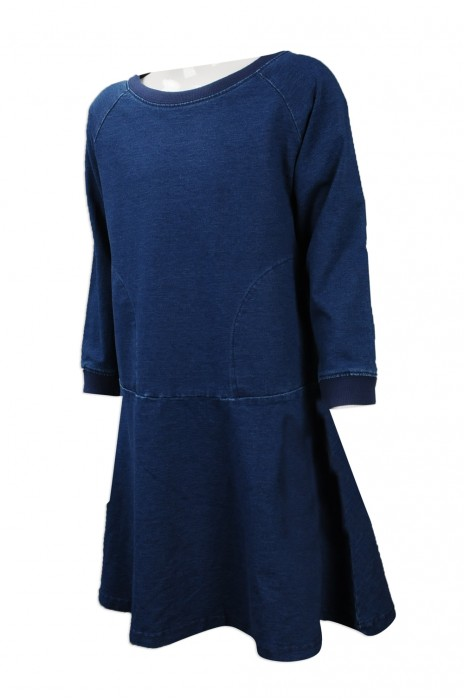 KD044 網上下單女童連身裙 設計牛仔布女童連身裙 台灣 訂造淨色女童直身裙製衣廠