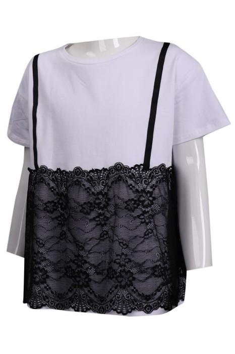 KD055 訂做蕾絲吊帶T恤  童裝製衣廠