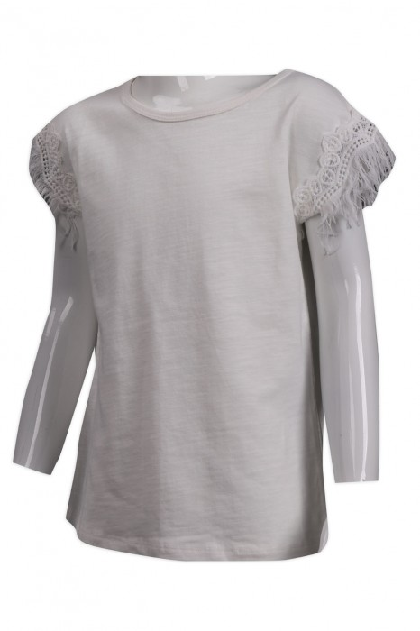 KD058 訂製兒童白色T恤 碎花袖 童裝製造商