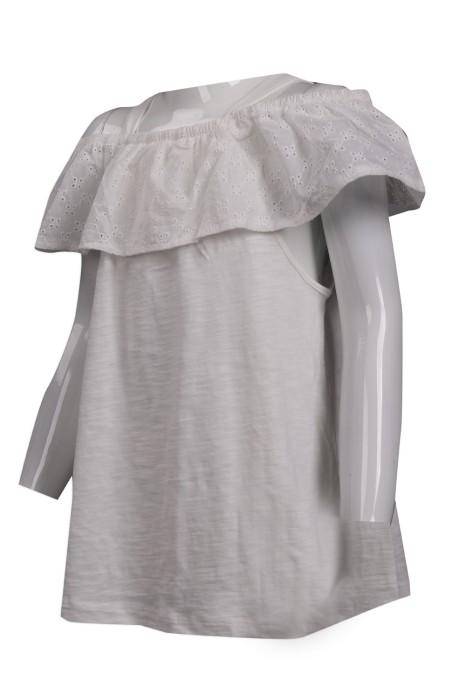 KD059 設計兒童淨色T恤 露肩 露膊 大領 童裝供應商