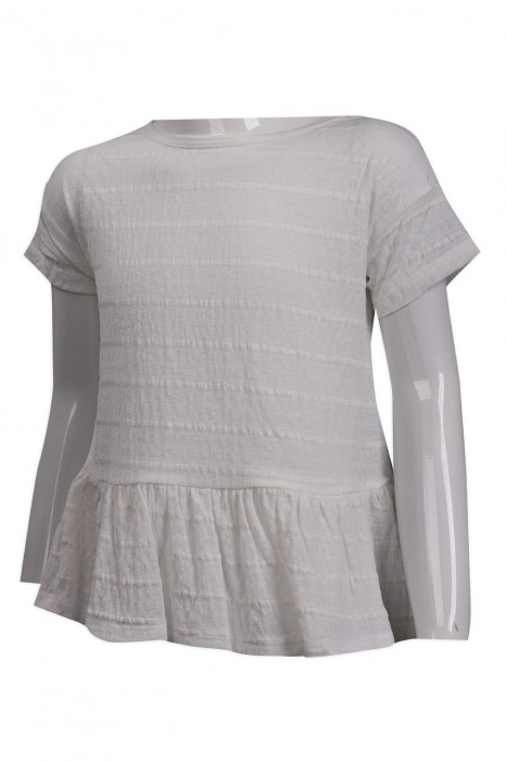 KD063 訂製女童白色短袖T恤 條紋 童裝製造商