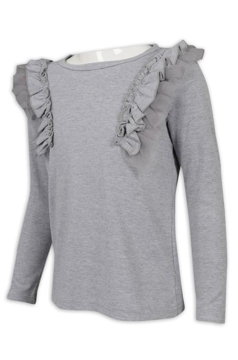 KD077 製作童裝長袖T恤 肩部花邊 95%棉 5%氨綸 童裝製造商