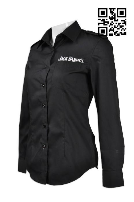 DS052訂製修身女裝恤衫   設計印花logo恤衫 啤酒 洋酒制服 肩帶  自訂女裝恤衫款式   恤衫供應商