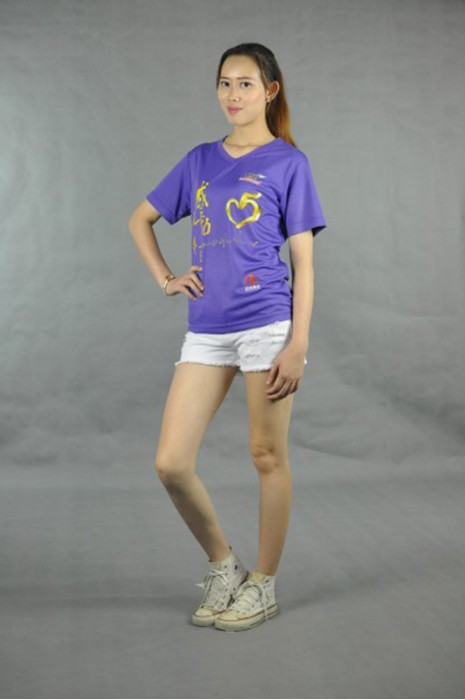 T522 訂製女裝T恤  真人試穿 模特示範 杏領 設計團體活動tee   t-shirt訂造公司