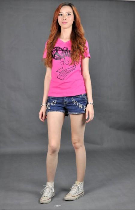 T517 燙印 t-shirt  真人試穿 模特示範 自製tee圖案  杏領 訂購團體班衫  訂造T恤專門店公司
