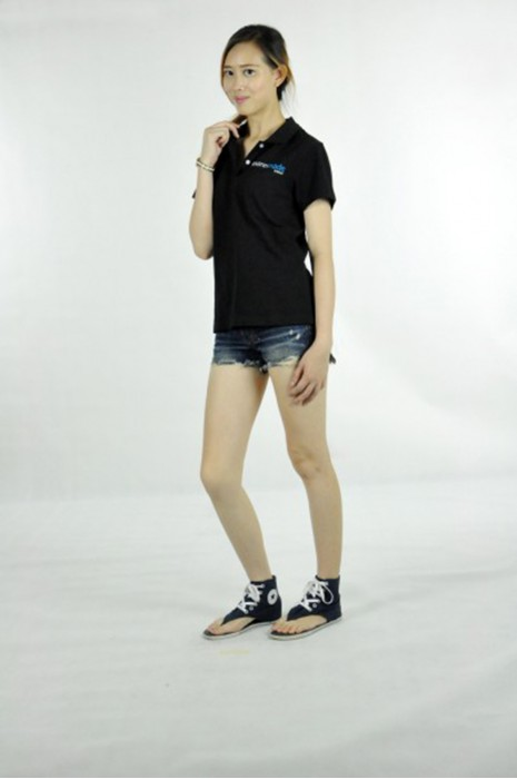 P466 團體訂做女裝短袖衫  MODEL  真人模範訂製黑色poloshirt  polo衫團體系列公司  POLO衫專門店