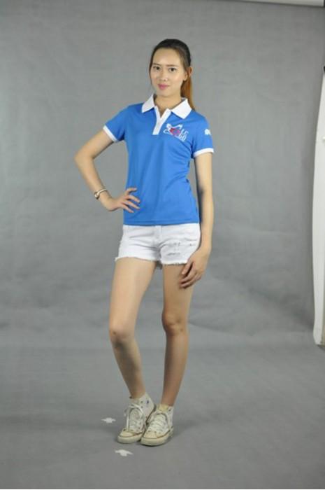 P447 訂製女裝短袖衫  MODEL  真人模範 設計活動polo-shirt  撞色胸筒 訂做班衫專門店HK