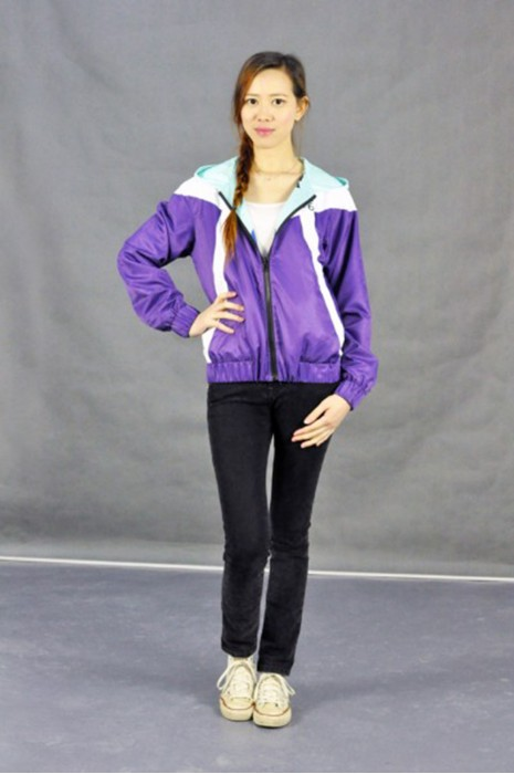 J501 班衫 班褸 模特試穿 真人模範 反面, 兩面穿外套雙面風褸 拼接風褸 個人設計印花風褸 雙面褸 潮流風褸外套 風褸外套製造商