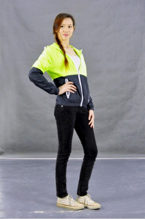 J503 螢光拼色風褸 訂真人試穿 模特試穿  造連帽風褸 拼接風衣  來樣訂造風褸外套 風褸外套製造商