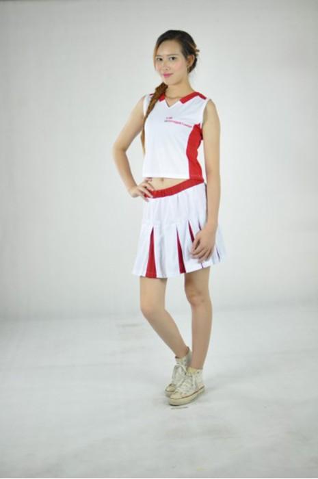 CH096 團體百褶裙款啦啦隊套裝 模特展示 真人示範 設計訂造 背心翻領啦啦隊套裝 個性Logo印花啦啦隊套裝 啦啦隊套裝網站