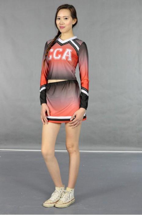 CH119 啦啦隊隊服燙石閃石款  模特展示 真人示範  女裝長袖啦啦隊套裙 在線訂購 團體打氣啦啦隊隊服 啦啦隊服網站