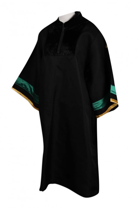 DA113 設計半胸拉鏈畢業袍 畢業袍生產商