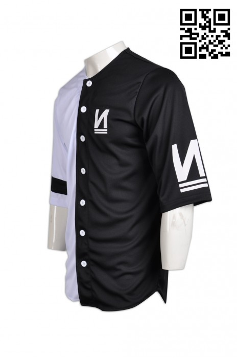 BU21 專業訂製棒球衫 團體印製棒球衫 半身拼接撞色棒球衫 棒球衫專門店