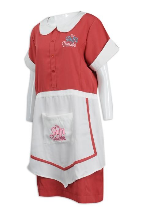 CL028 設計連身裙家政服 100%滌 家政服中心 清潔服生產商